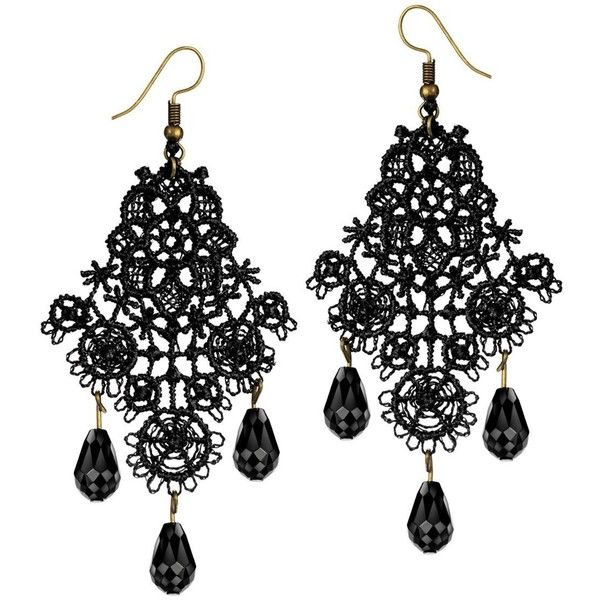 Mints Chandelier Earrings Gothic Jewelry for Women Tassel Black Lace... (€7,52) ❤ liked on Polyvore featuring jewelry, earrings, long tassel earrings, chandelier earrings, tassle earrings, fringe tassel earrings and mint jewelry