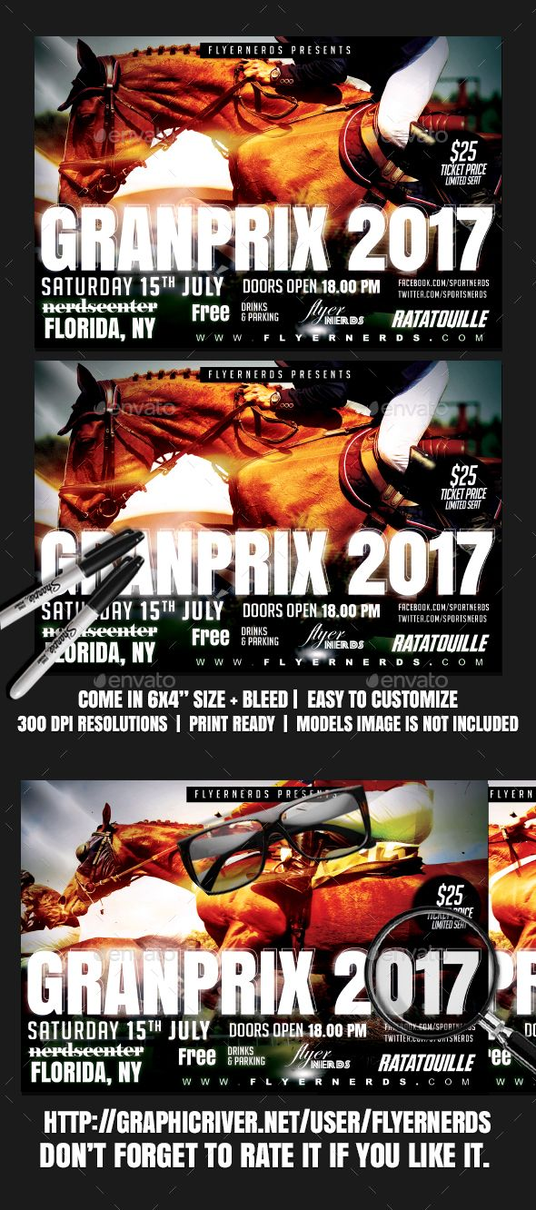 Horse Racing Grand Prix Championships Sports Flyer | Fonts-logos ...
