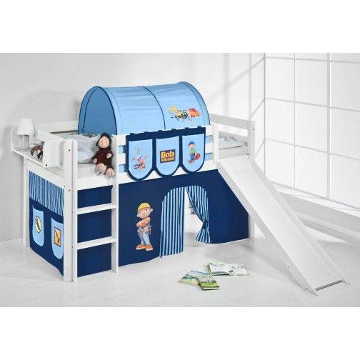 hochbett mit rutsche wei bob der baumeister jelle. Black Bedroom Furniture Sets. Home Design Ideas