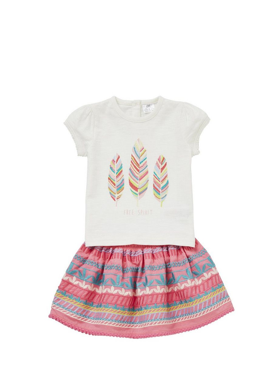 Clothing at Tesco | F&F Free Spirit T-Shirt and Embroidered Skirt ...