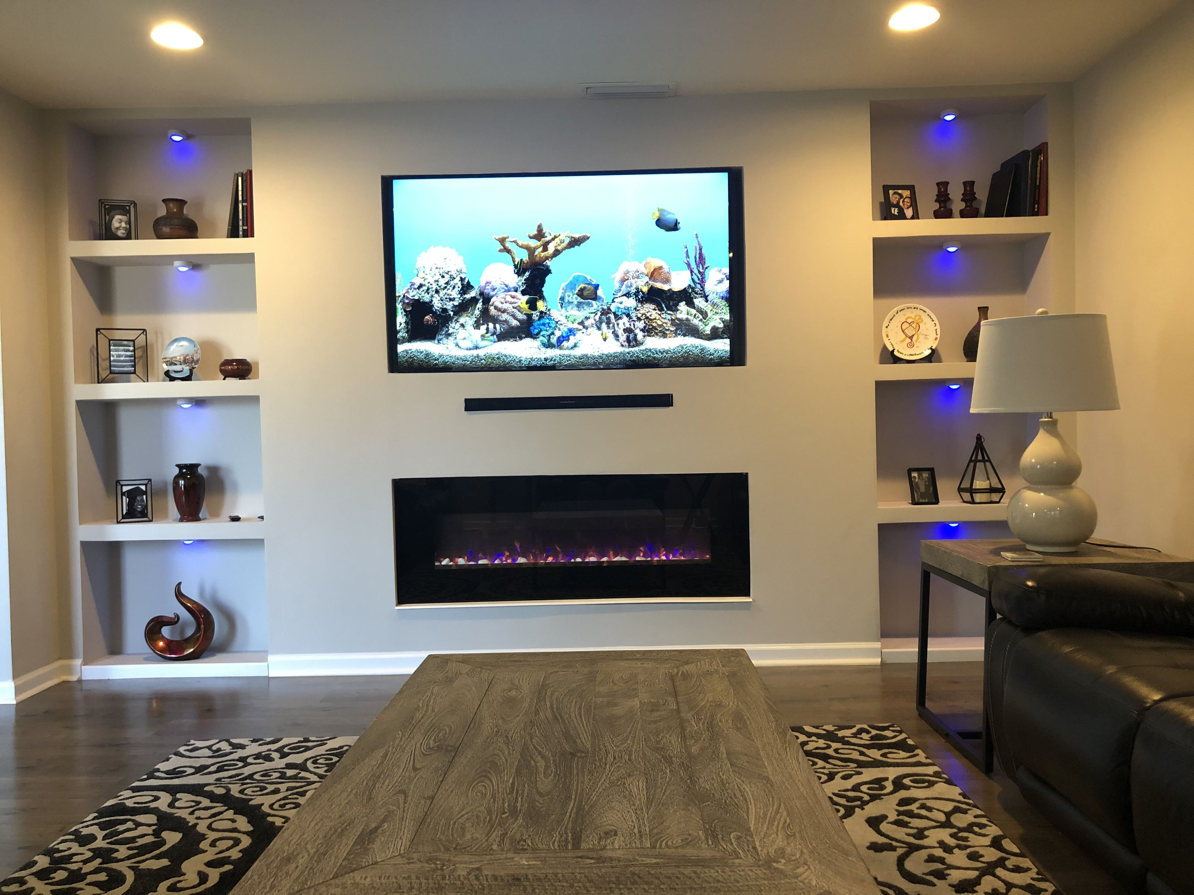 Blue Lights Under My Built In Wall Unit With Electric Fireplace