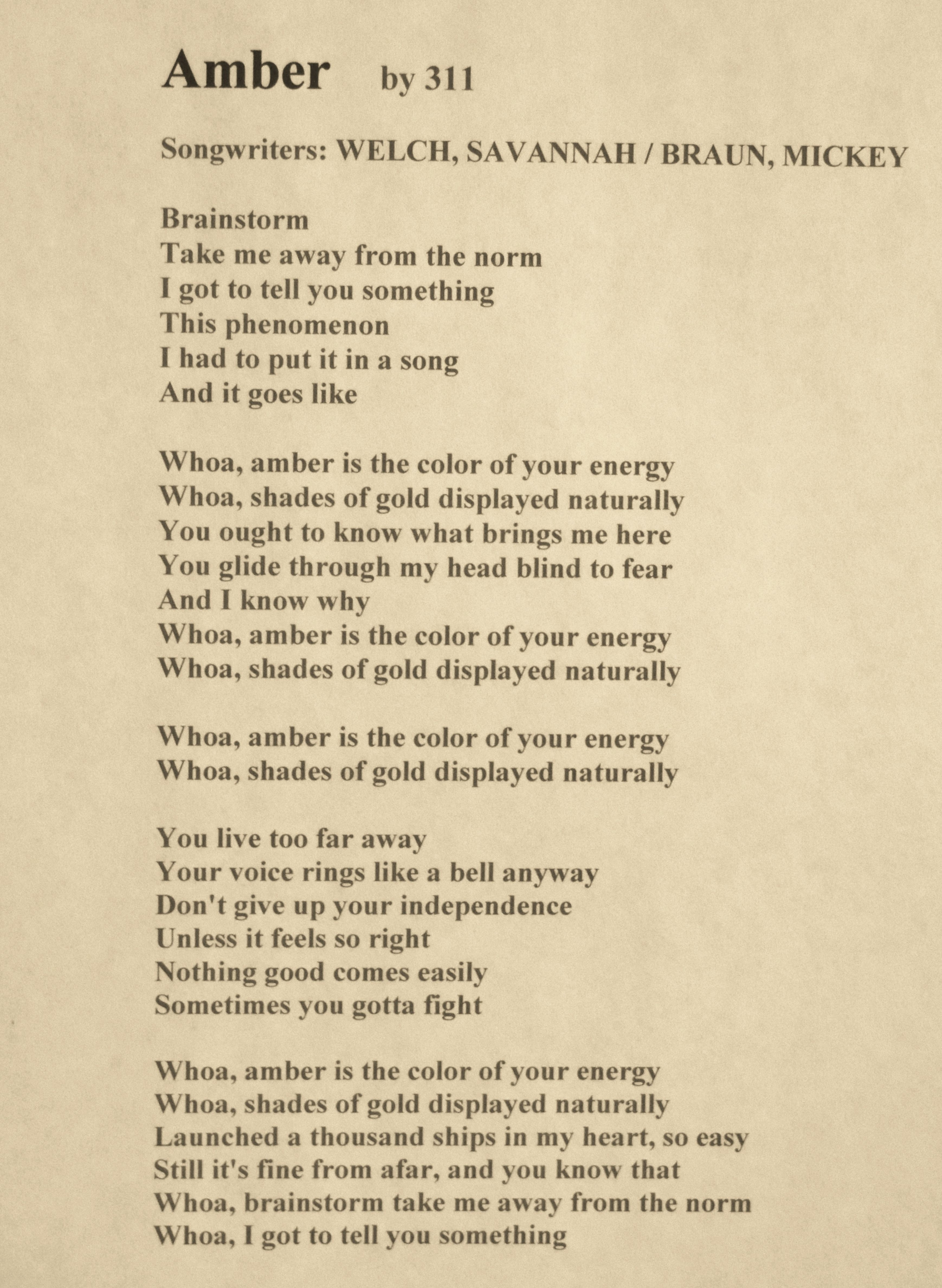 This is the lyrics for the song \