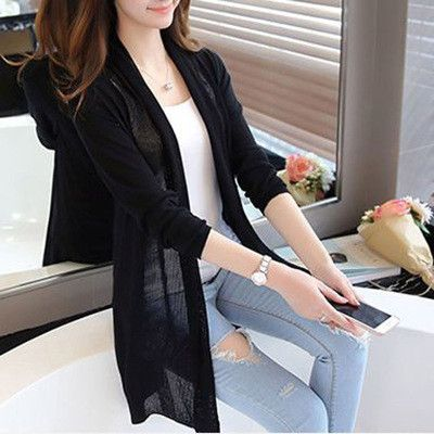 2016 Summer Female Long Thin Cardigan Sweater Thin Air-conditioning Hollow Loose Tide