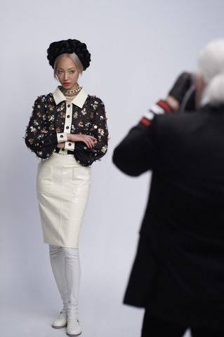 Behind The Scenes. Making Of The Chanel Cruise-Seoul Press Kit. Photographed By: Karl Lagerfeld. Models: Soo Joo Park. Charlotte Free. Hair: Sam McKnight. Makeup: Tom Pecheux. Photos By: Olivier Saillant.