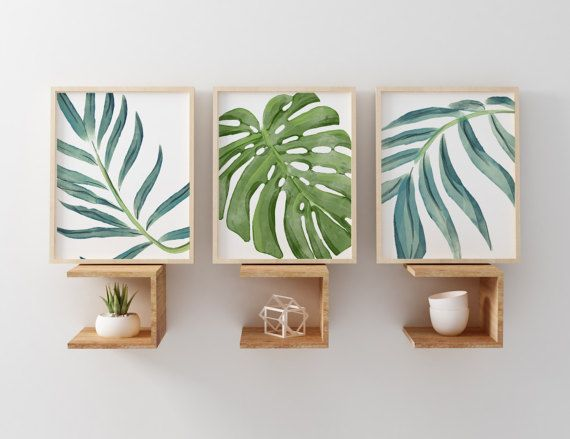 Beach Art Prints, Watercolor Beach Nursery Art, Tropical Palm Leaves ...