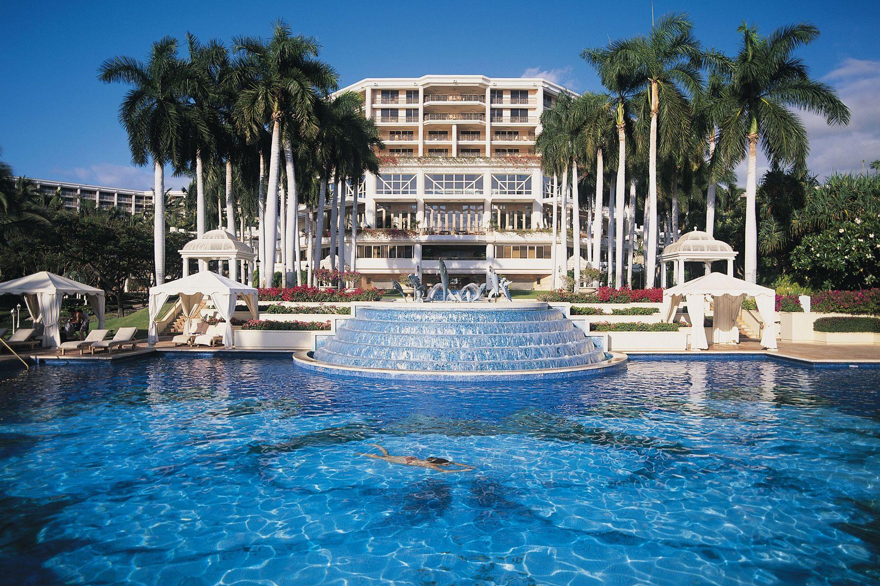 grand wailea resort hawaii- massive pool with waterslide, water