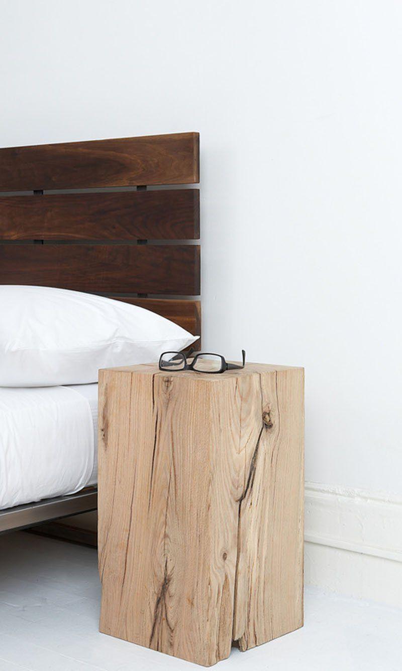 Morceau De Bois Brut table-chevet nature de design original en un seul morceau de
