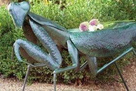Praying Mantis Handmade Iron Garden Stool