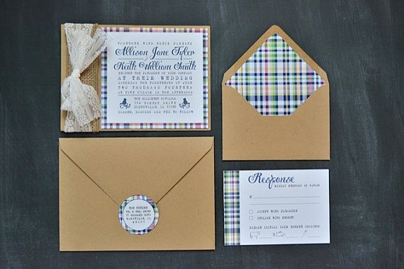 Preppy Plaid Wedding Invitations With