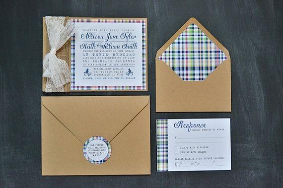 Preppy Plaid Wedding Invitations With