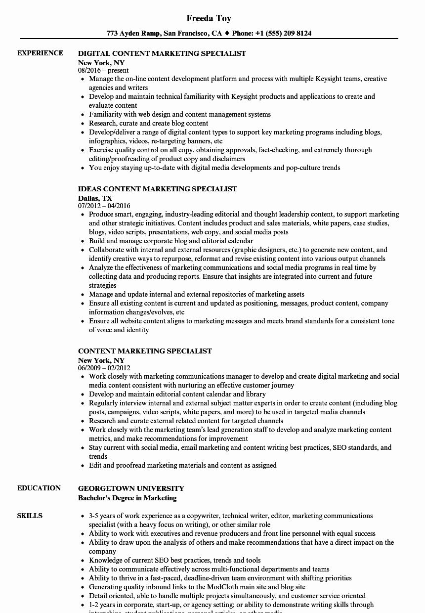 Digital Marketing Specialist Resume Luxury Content
