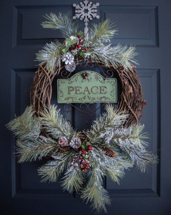 rustic christmas wreaths peace outdoor by homehearthgarden - Peace Outdoor Christmas Decorations