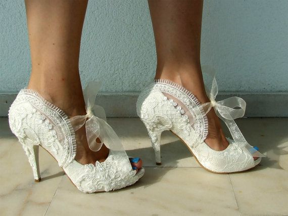 Wedding Shoes - Bridal Shoes Embroidered Ivory Lace with Pearls ...