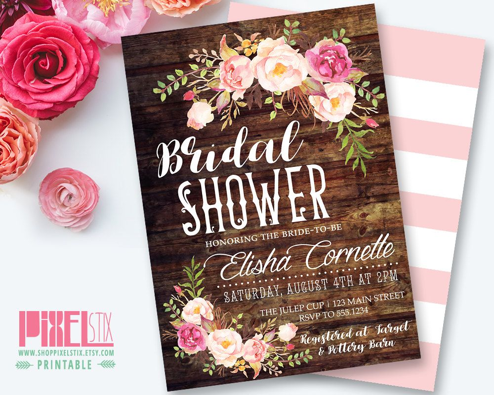 Rustic floral bridal shower invitation shabby chic invite peony rustic floral bridal shower invitation shabby chic invite peony and rose vintage wood filmwisefo Image collections