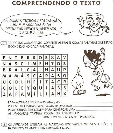 Sugestão De Atividade Escolar Atividades Cultura Afro