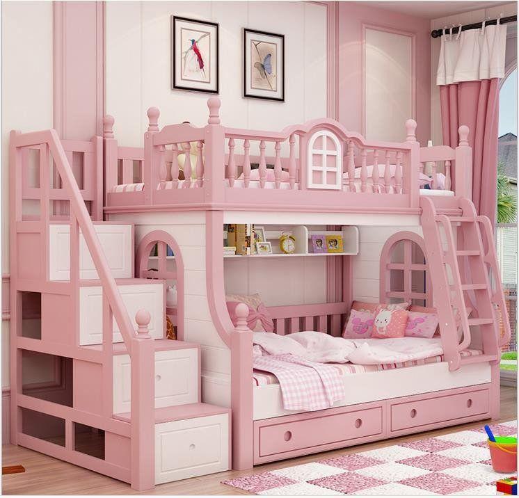 Pink Childern Bed Solid Wood Bady Fluctuation Bed Girl Princess Bed Luxurybeddingwood Princess Bedrooms Girl Bedroom Designs Bed For Girls Room