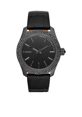 Diesel  Womens Black Leather Three-Hand Watch