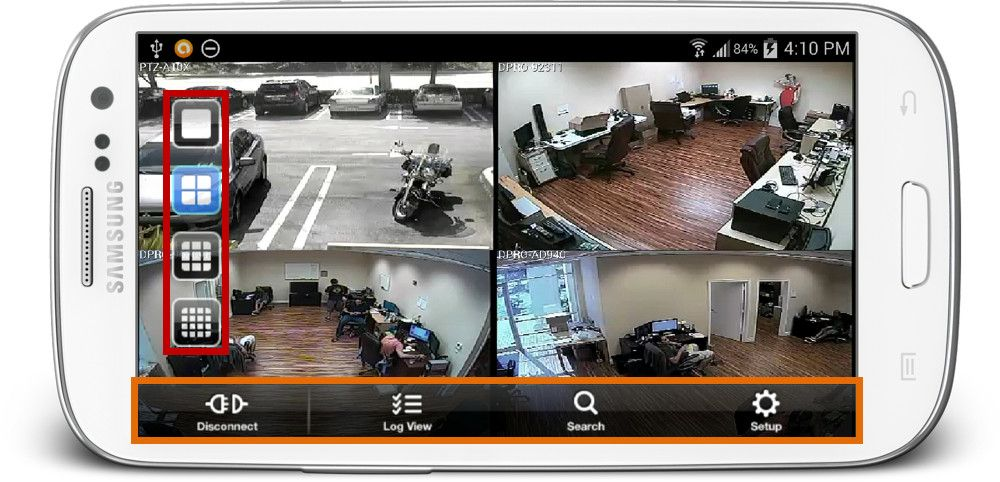 This is the live security camera view from the iDVRPRO