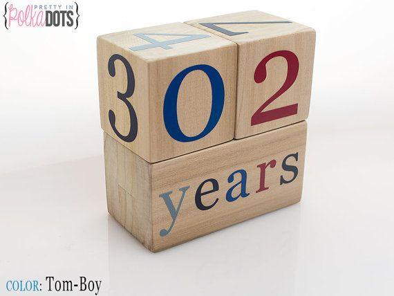 Wooden Baby Age Blocks  Photo Prop  Months by PrettyInPolkaDotsky