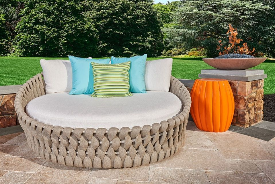 Daybed in a gorgeous outdoor living space styled by Grace ... on Living Spaces Outdoor Daybed id=55271