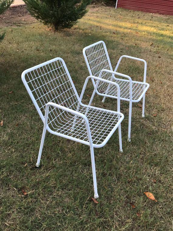 ecb0c2cce40 Vintage Set of Two 2 White Emu Garden Rio Stacking Metal Patio ...