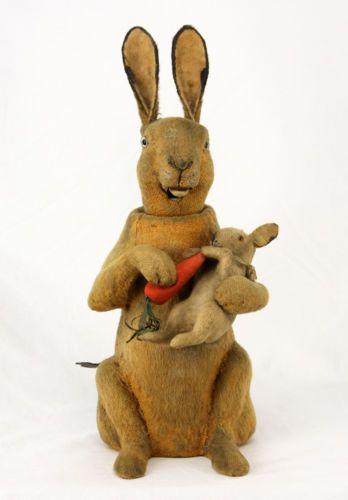 Antique-German-Clockwork-Nodder-Easter-Rabbit-Bunny-ca1910