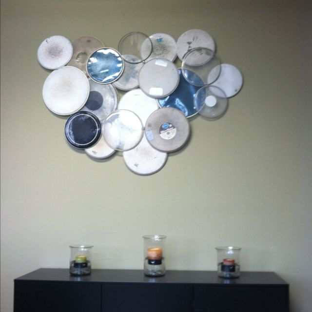 drum head wall art i 39 m looking to do something like this but maybe paint them not sure any. Black Bedroom Furniture Sets. Home Design Ideas