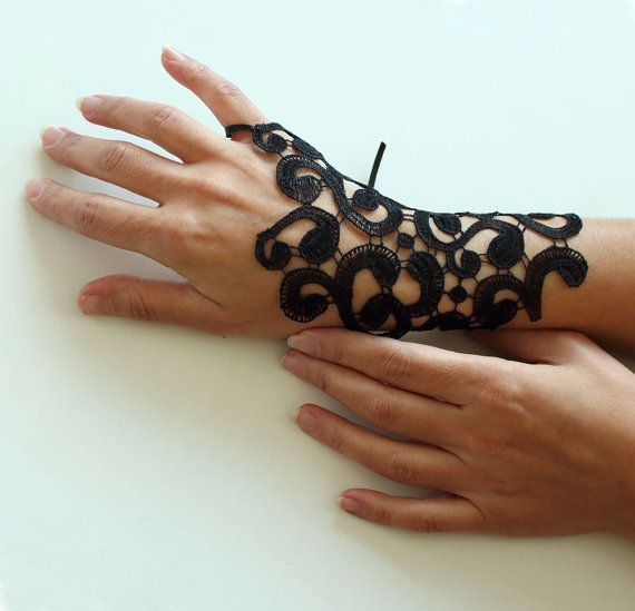 Wrist Cuff Charm in Black Guipure Lace Handmade by mammamiaeme, $16.00