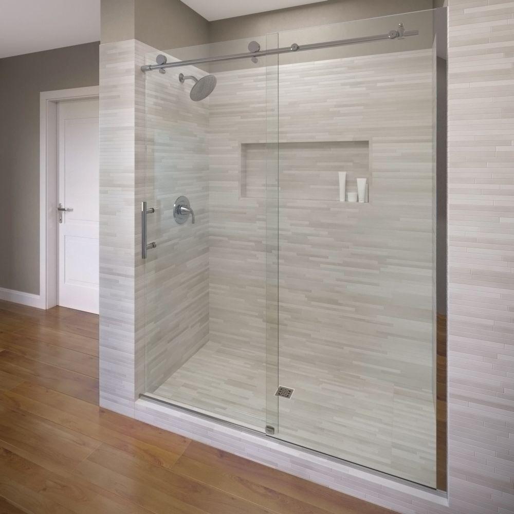 Basco Vinesse 47 In X 76 In Semi Frameless Sliding Shower Door