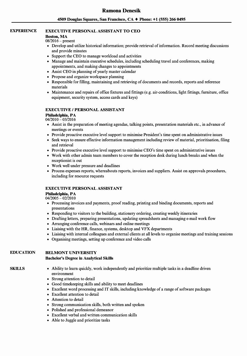 Personal assistant Resume Example Unique Executive