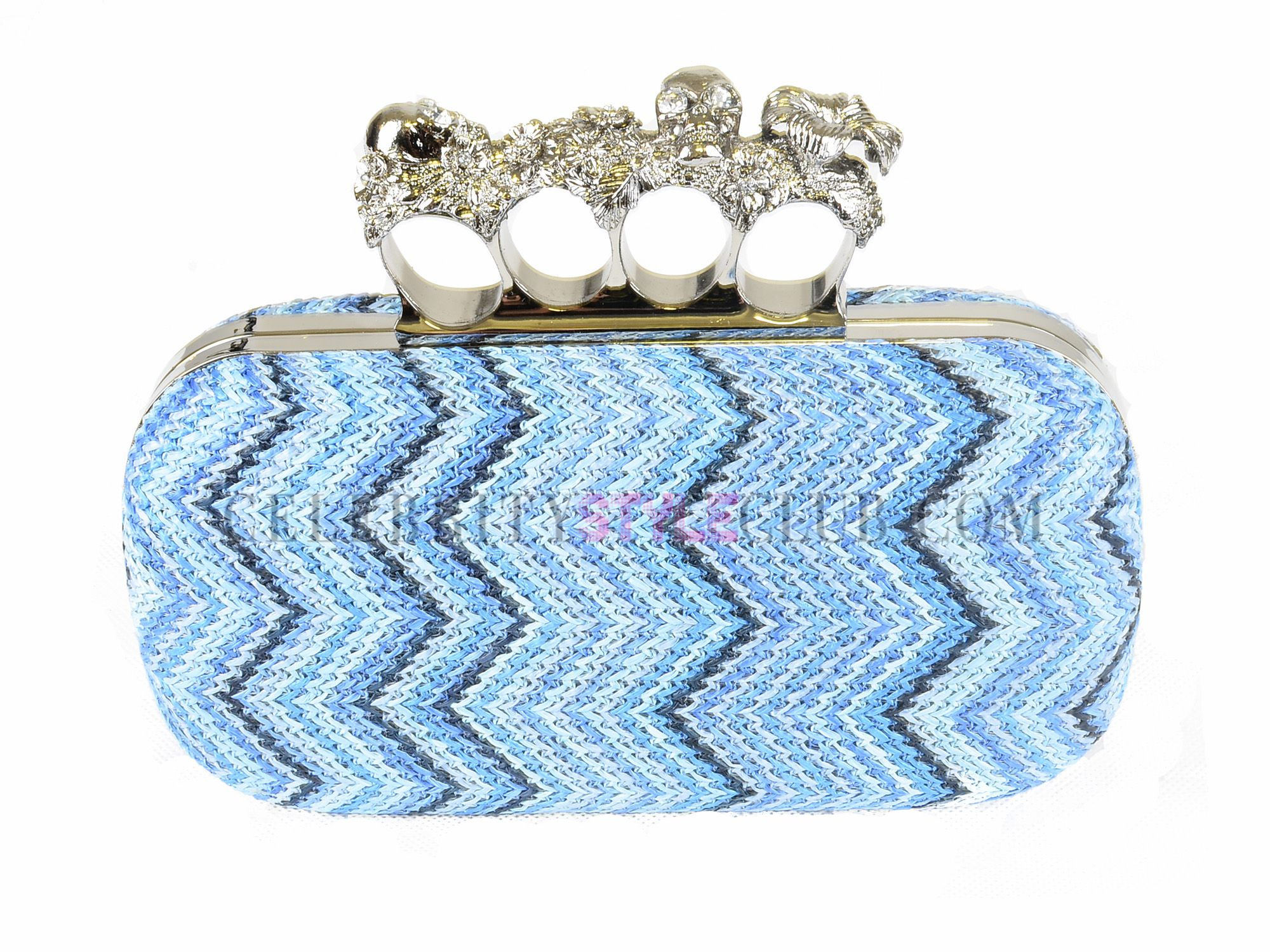 Blue knuckle duster clutch - $79 from Celebrity Style Club