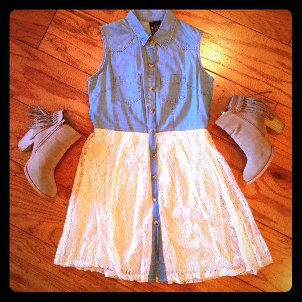 Denim & Lace Boho Dress