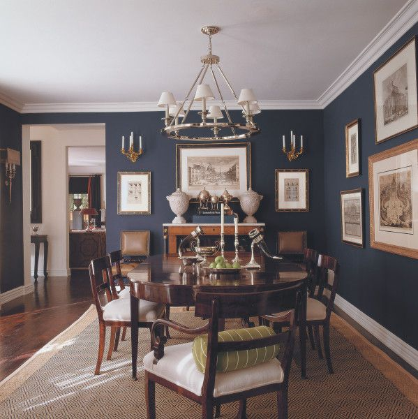 Dark Dining Room: Mary McDonalk - Dark Blue Dining W/wood Tones