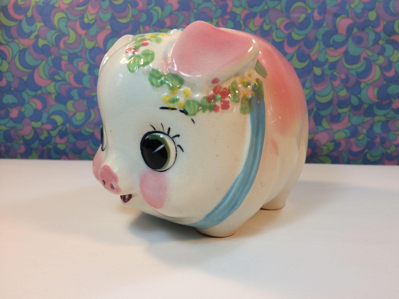 Vintage Kitsch Piggy Bank Cute Big Eyes Pink Retro Foreign