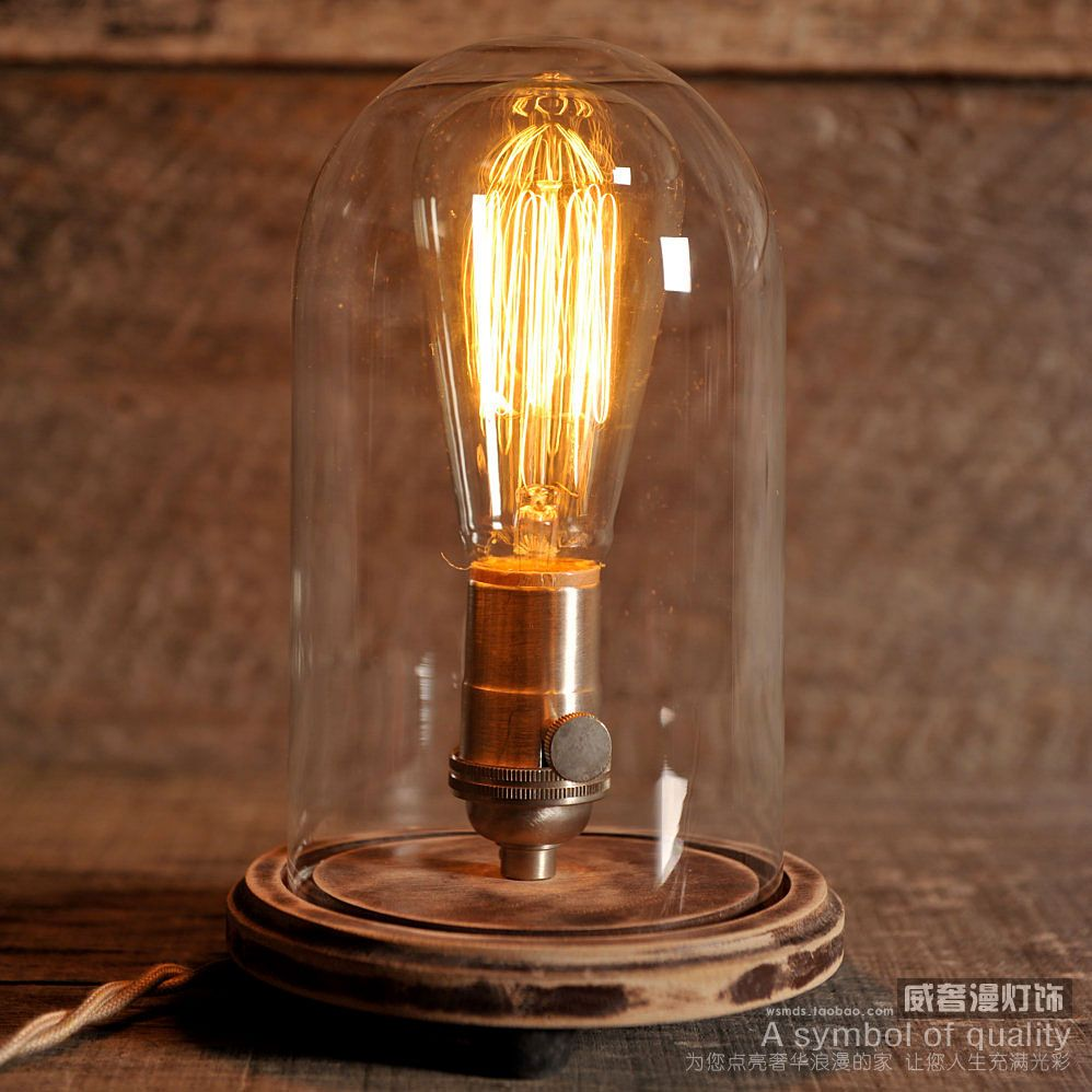 edison lamp vintage bell jar table lamp rustic industrial lamp edison bulb steampunk. Black Bedroom Furniture Sets. Home Design Ideas