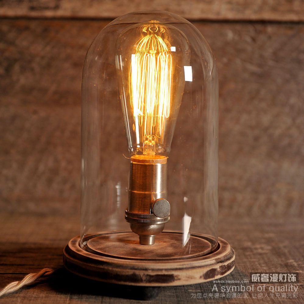 Lampe Edison Cloche De Verre Vintage Lampe De Table Industrielle Lampe Rustique Edison Ampoule Steampunk Antique T8075 Deco Luminaire Lampe Edison Lamp