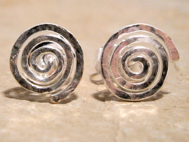 Earrings, Spiral Silver Studs, Hammered Spiral Silver Studs, Spiral Post Earrings, Spiral Studs, Spiral Earrings, Sacred Spiral by WirePalladiumJewelry on Etsy https://www.etsy.com/listing/127995468/earrings-spiral-silver-studs-hammered