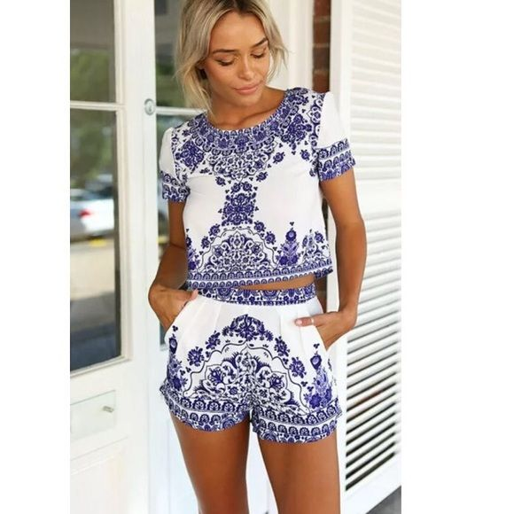 New Boho Print Two Piece Crop Top Shorts Set Super cute two piece set with boho printed graphic. Crop top and shorts. Listed under Sabo skirt for exposure ✨ Sabo Skirt Tops Crop Tops