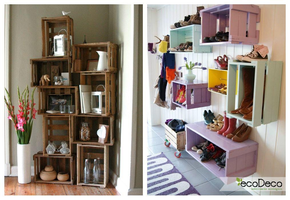 02 estanteria cajas de fruta recibidor ideas cajas de - Decoracion cajas de fruta ...