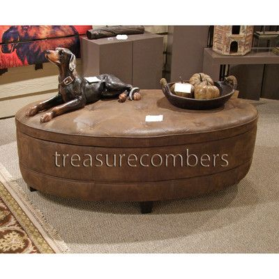 xl large oval storage ottoman coffee table faux leather | ebay