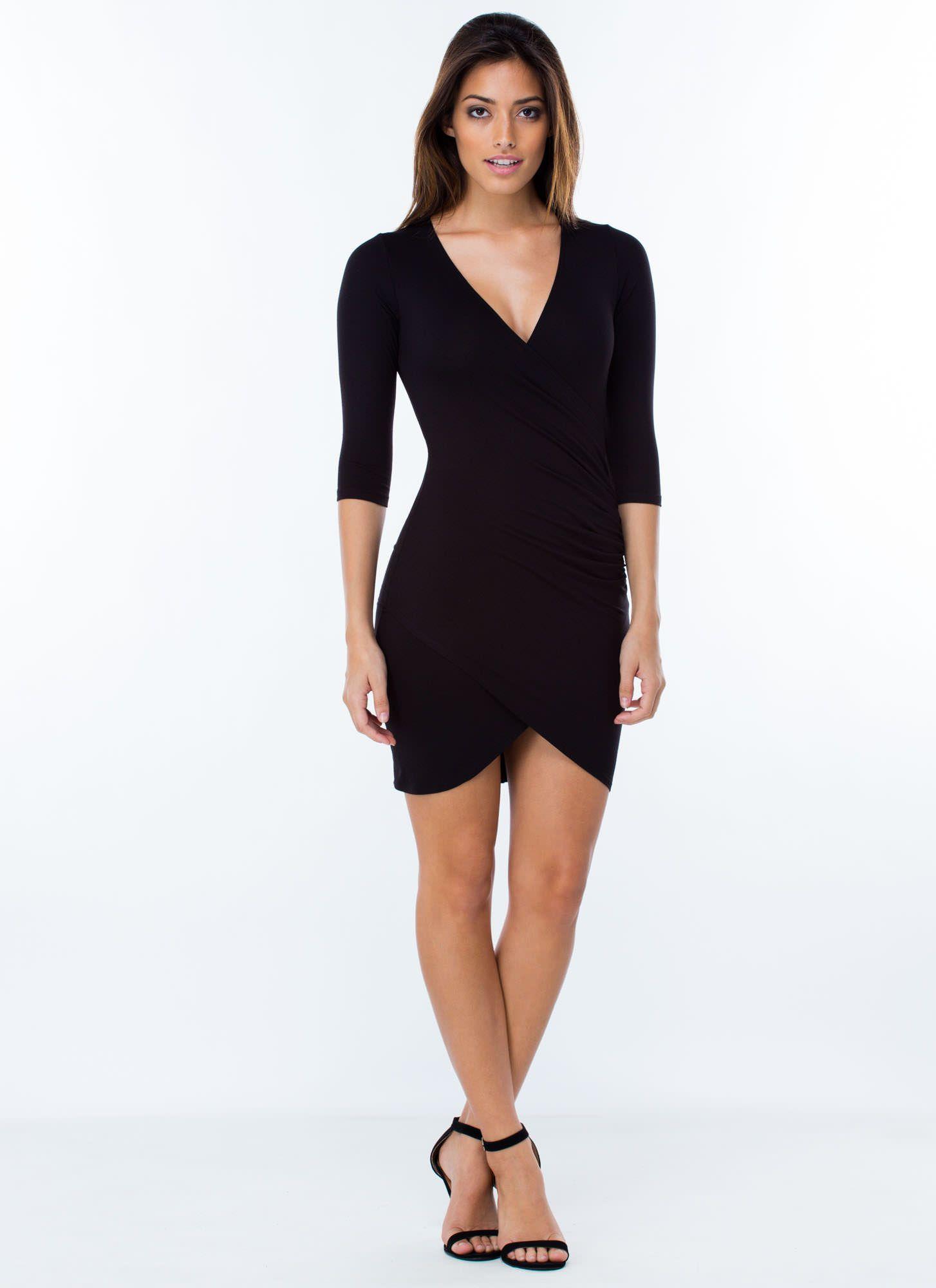 8a9bd8338a Wrap Genius Ruched Tulip Hem Dress BLACK