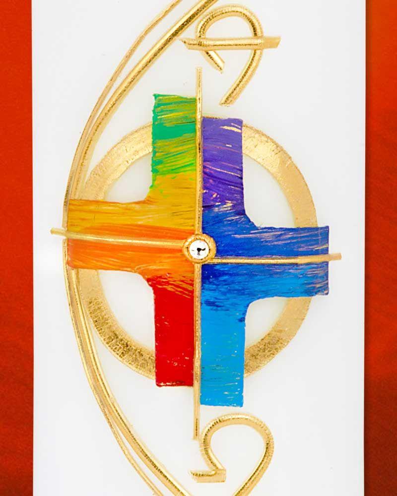 Osterkerze 225 x 70 mm A+O Regenbogenkreuz Handarbeit