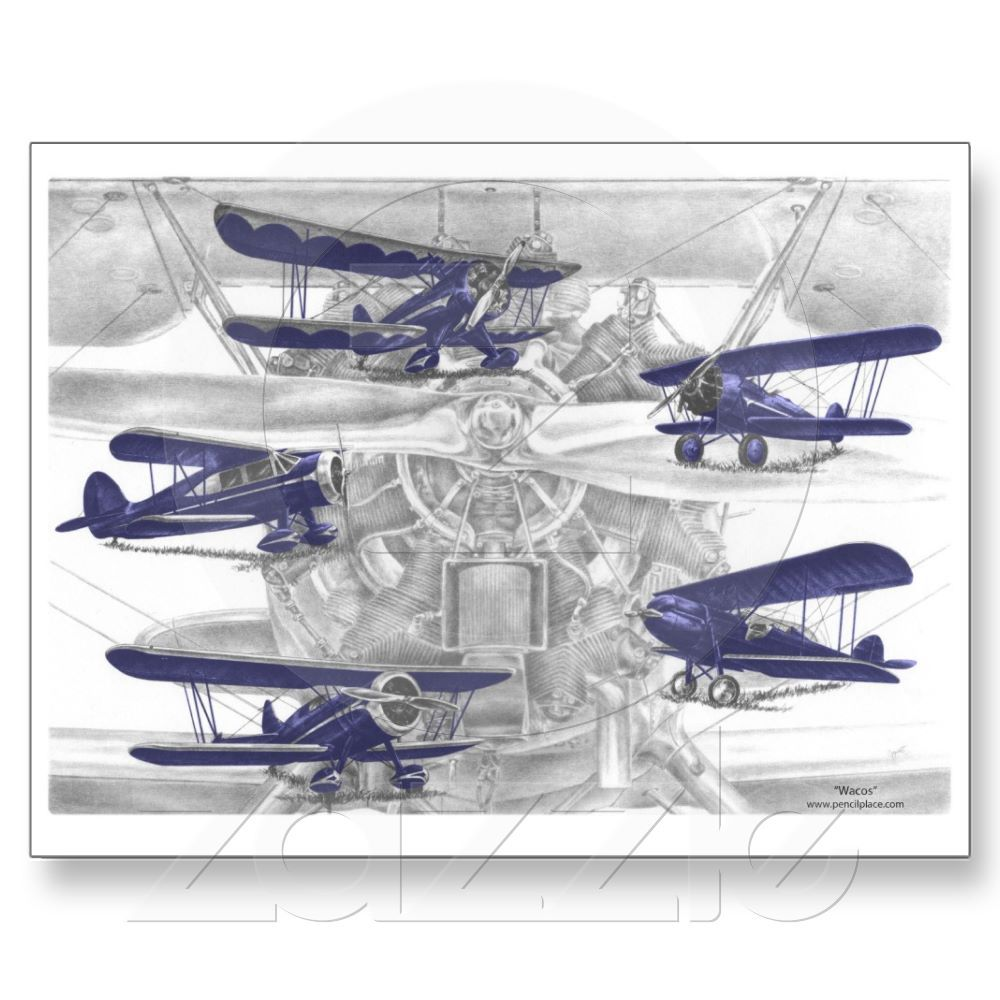 Vintage Waco Biplane - Old Bi Wing Airplanes Postcards from Zazzle.com