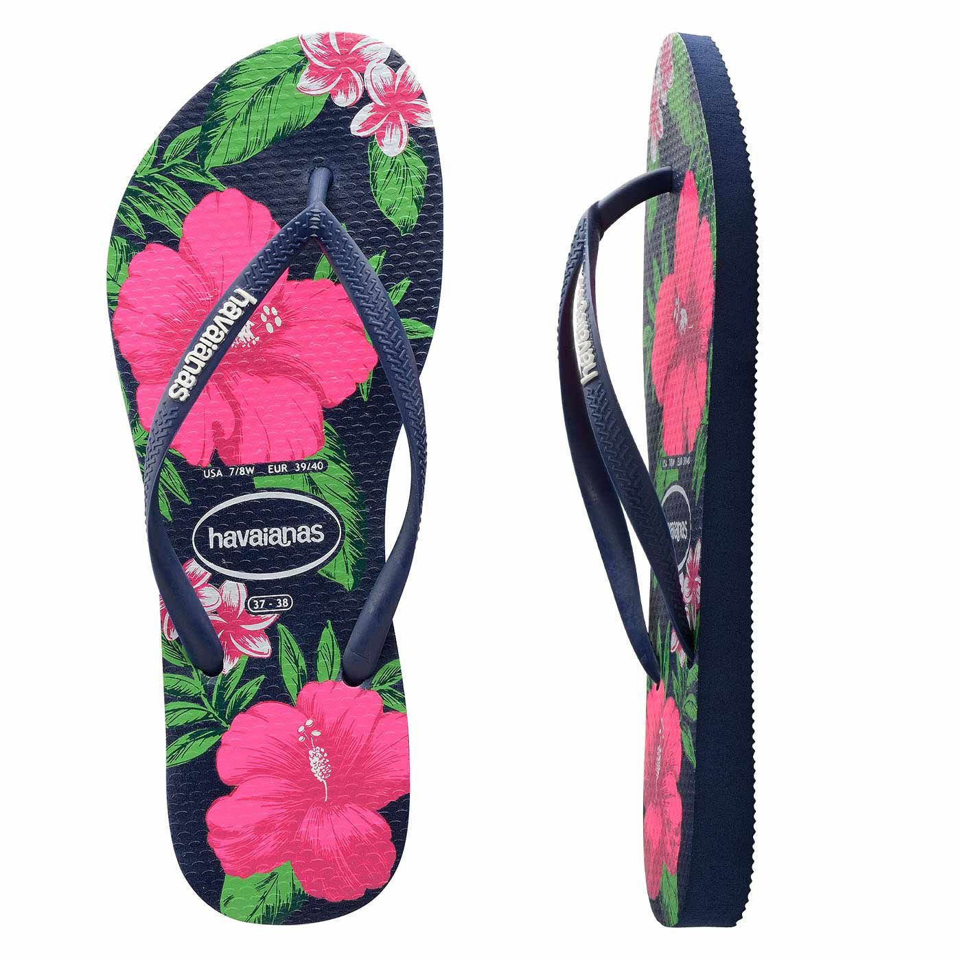 Havaianas Slim Floral Navy. Slim Navy Havaianas adorned with a bold summer  hibiscus and frangipani print in bright pink, slim navy straps finished  with a ...
