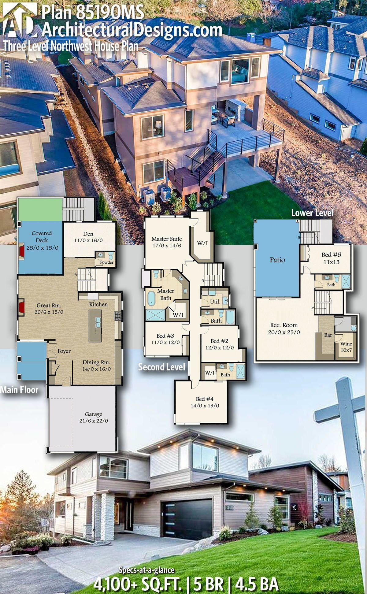 Plan 85190ms Three Level Northwest House Plan Architectural House Plans House Plans House Blueprints