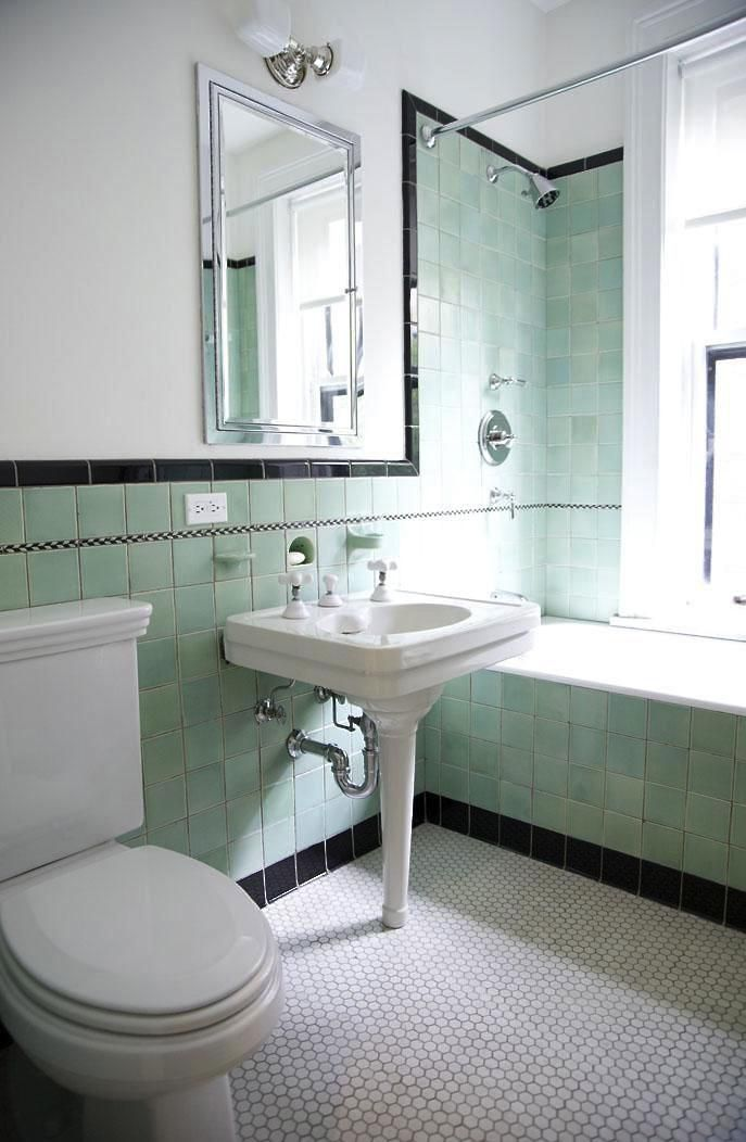 Green And Black Tile Bathroom By Elizabeth Roberts Gardenista