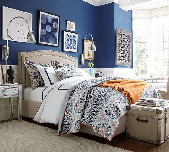 Bedroom Blue And White Blue Paint For Bedroom Bedroom Lighting Inspiration Bifold Bedroom Door: Framed Ikat Prints