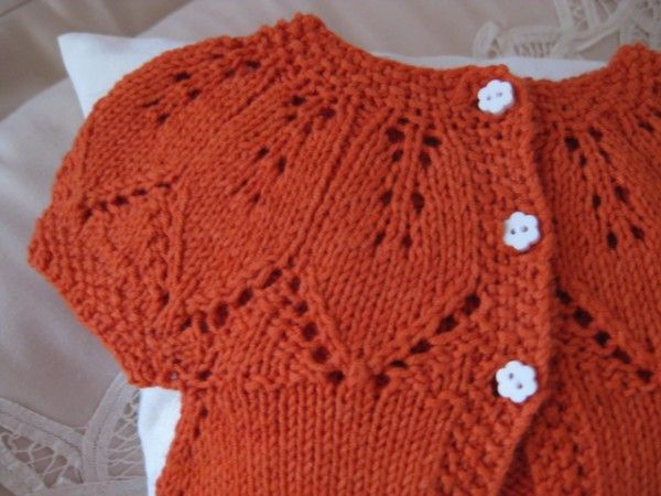 Finished Baby Girl Floral Lace Top Down Cardigan Knit One Purl