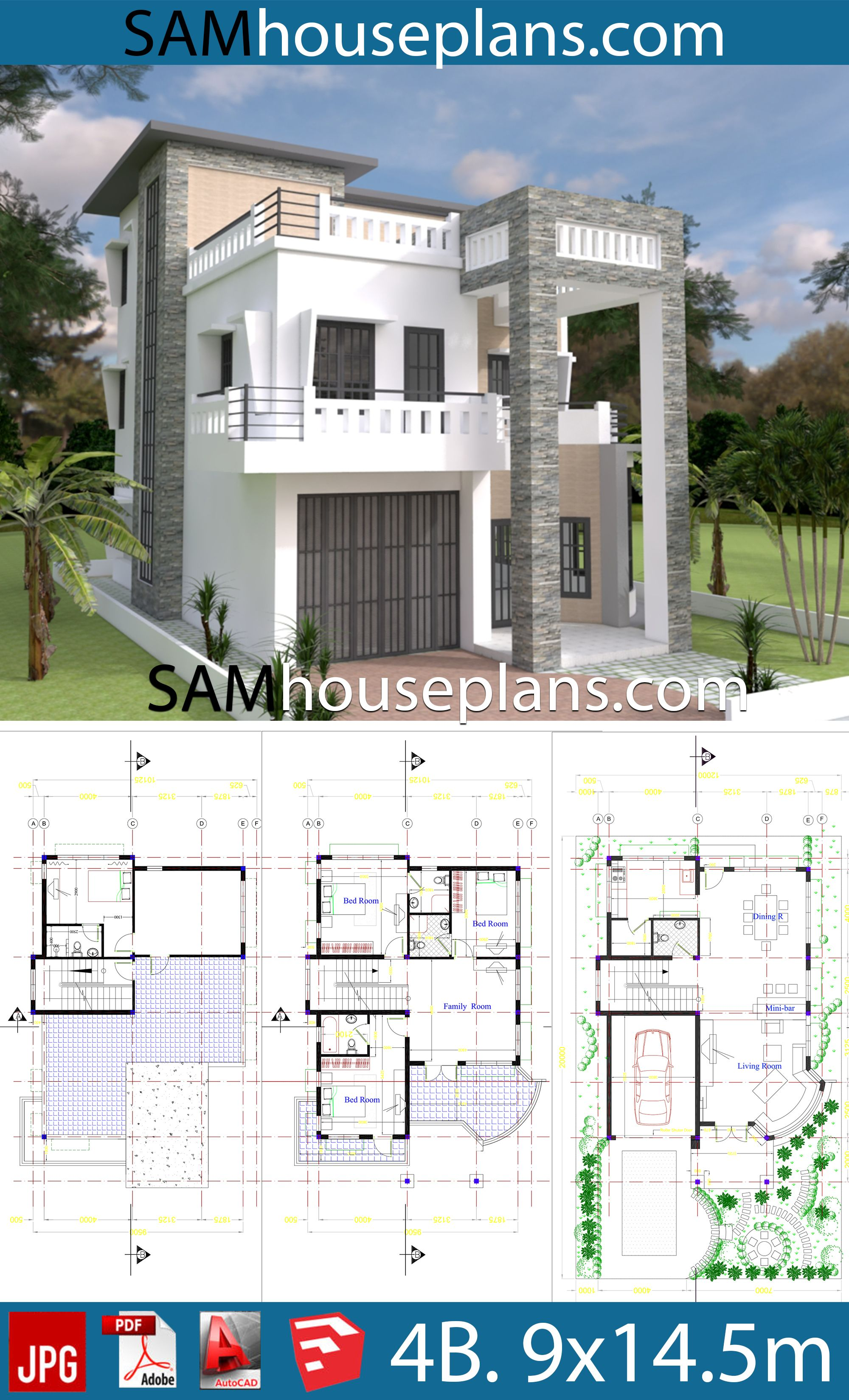 House Plans 9x14 5 With 4 Bedrooms Sam House Plans House Plans Dream House Plans Mansion Floor Plan