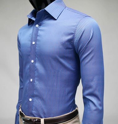 mens suits fitted blue stripe dress shirts by wfashionmall | men's ...